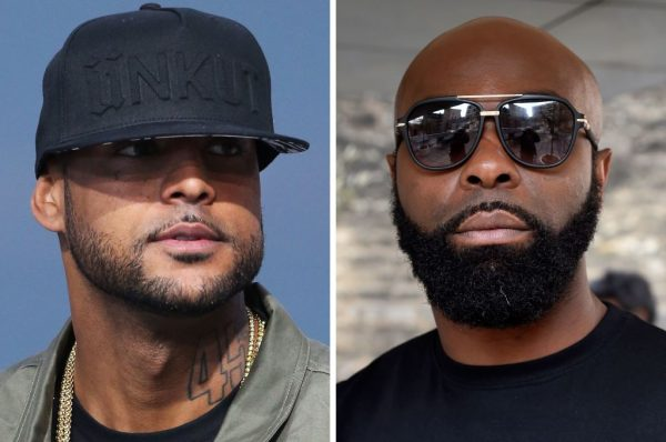 This combination of file pictures made on August 1, 2018, shows French rapper Booba (L) on May 19, 2014, in Cannes, southern France, and French rapper Kaaris (R) on March 25, 2015, in Paris. Both rappers were arrested and remanded in custody by French border police, on August 1, 2018 at the Orly airport, outside Paris, after a fight that also involved members of their entourage, which caused flight delays and the temporary closure of the hall 1 of the airport according to the police. (DOMINIQUE FAGET,LOIC VENANCE/AFP/Getty Images)