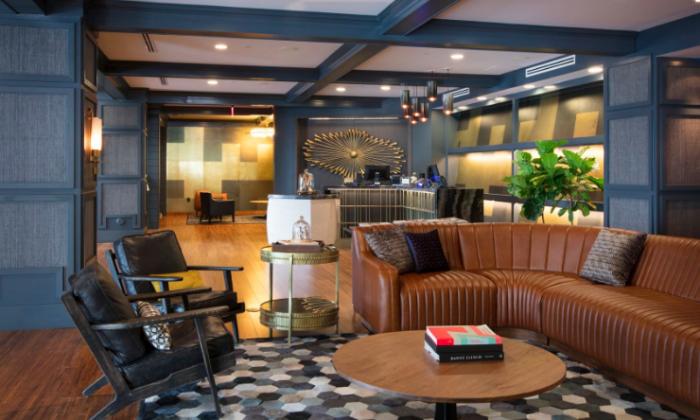 Lobby at Hutton Hotel, Nashville. (Nils Schlebusch)