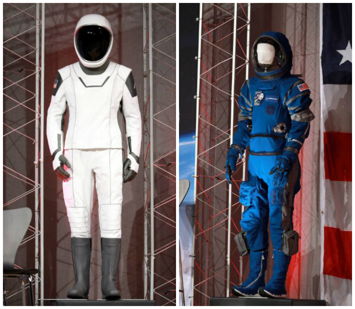 The new SpaceX and Boeing launch and entry spacesuits are displayed as NASA announces the crew assignments for the first flight tests missions of the Boeing CST-100 Starliner and SpaceX Crew Dragon at NASA's Johnson Space Center in Houston Texa