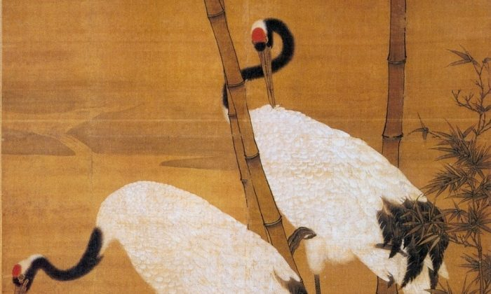 """""""Bamboo and Cranes,"""" early Ming Dynasty, by Bian Jingzhao. Two immortal cranes flew Long Heng and his wife to Heaven. (Public Domain)"""