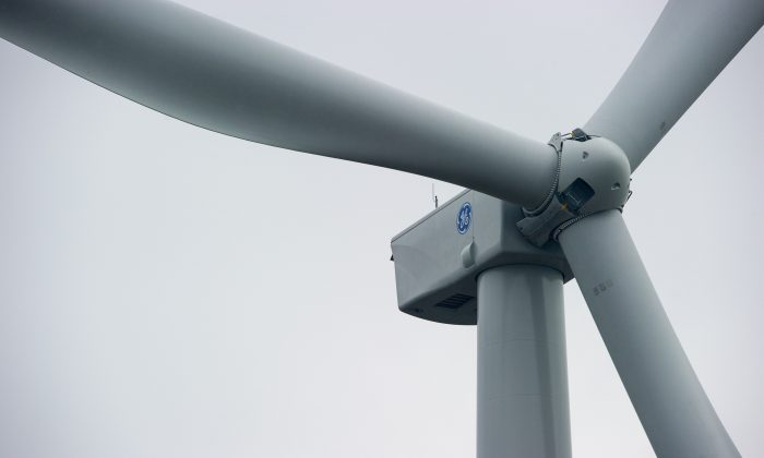 A wind turbine made by General Electric at a wind park in Les Monts du Lomont, eastern France, on October 13, 2015. (Sebastien Bozon/AFP/Getty Images)