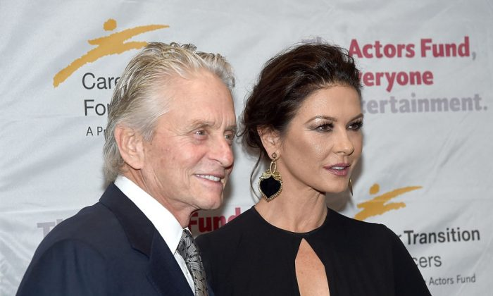 Catherine Zeta-Jones and husband Michael Douglas at Marriott Marquis Hotel on November 1, 2017 in New York City. (Photo by Jamie McCarthy/Getty Images)