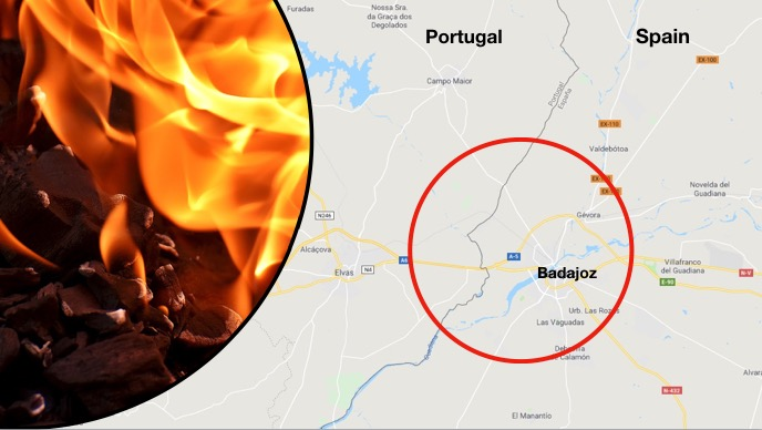 Firefighters from Portugal and Spain worked jointly on Sunday to contain a forest fire near Badajoz, close to the shared border, as temperatures in southern Europe climbed towards record highs in the Iberian Peninsula. (Google Maps/Graphic by EET)