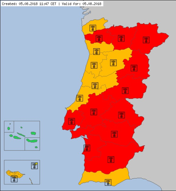 "The Portalegre region of Portugal, where the fire broke out, is under an ""extreme high temperature warning,"" according to EUMETNET, a European network of meteorological surveys, stated on August 5, 2018. (EUMETNET/meteoalarm.eu)"