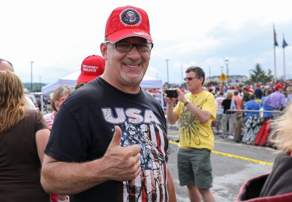 Len Spadaro lines up for a Make America Great Again rally in Wilkes-Barre, Pa., on Aug. 2, 2018. (Samira Bouaou/The Epoch Times)