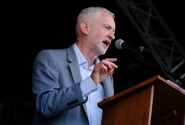 Labour Leader Jeremy Corbyn delivers his speech during the 134th Durham Miners' Gala on July 14, 2018, in Durham, England. (Ian Forsyth/Getty Images)