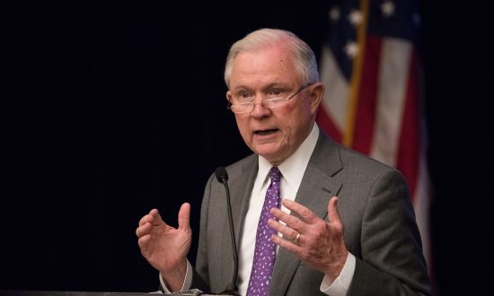 Attorney General Jeff Sessions speaks at  the 2018 Opioid Roundtable hosted by the National Sheriffs' Association and the Daniel Morgan Graduate School of National Security, in Washington on May 3, 2018. (Samira Bouaou/The Epoch Times)