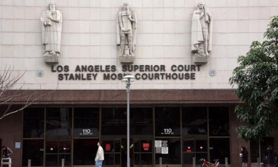 A man walks by the Los Angeles County Superior courthouse, Feb. 19, 2008 in Los Angeles, California. (Valerie Macon/Getty Images)