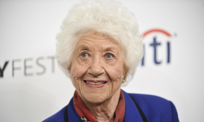 """Charlotte Rae arrives at the 2014 PALEYFEST Fall TV Previews - """"The Facts of Life"""" Reunion in Beverly Hills, Calif., on Sept. 15, 2014 (Richard Shotwell/Invision/AP)"""