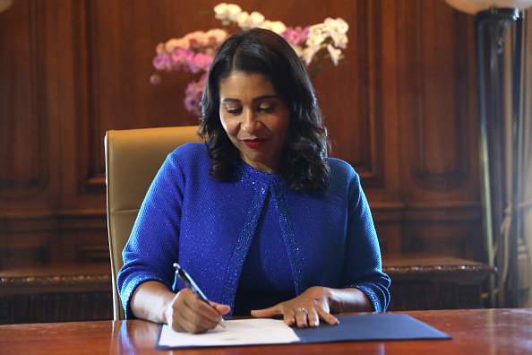 SAN FRANCISCO, CA - JULY 11:  Mayor London Breed signs the oath of office after her inauguration at City Hall July 11, 2018 in San Francisco, California.   (Photo by Scott Strazzante/Getty Images)