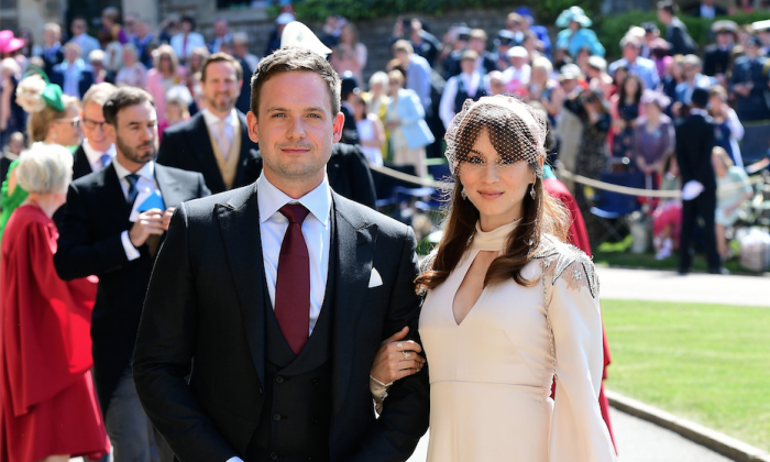 Troian Bellisario & Patrick J. Adams attended British Royal Wedding on May 19. (Ian West/WPA Pool/Getty Images)