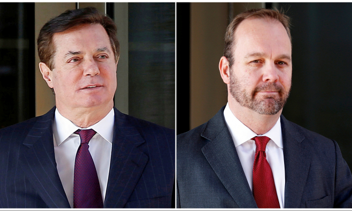 Paul Manafort (L) and Rick Gates (R) in Washington on Dec. 11, 2017. (Joshua Roberts/Reuters)