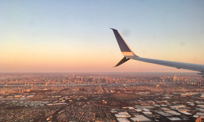 A view of New York City from a plane on March 31, 2018. (Charlotte Cuthbertson/The Epoch Times)