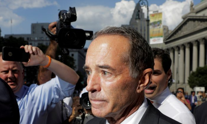 U.S. Rep. Christopher Collins (R-NY) departs the Thurgood Marshall United States Courthouse following his arraignment on insider trading charges in New York, U.S., August 8, 2018. (Reuters/Lucas Jackson)