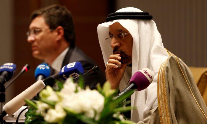 Saudi Energy Minister Khalid al-Falih and Russian Energy Minister Alexander Novak attend a news conference at the Ritz-Carlton hotel in Riyadh, Saudi Arabia Feb. 14, 2018. (Reuters/Faisal Al Nasser/File Photo)