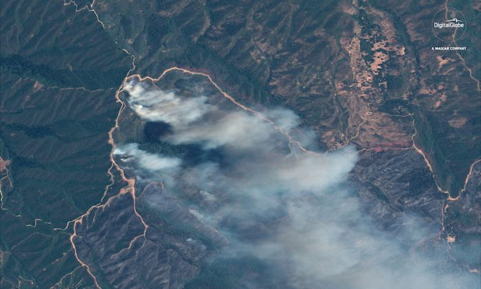 A satellite image shows the River fire at the Mendocino Complex wildfire in California on  Aug. 6 (Reuters)