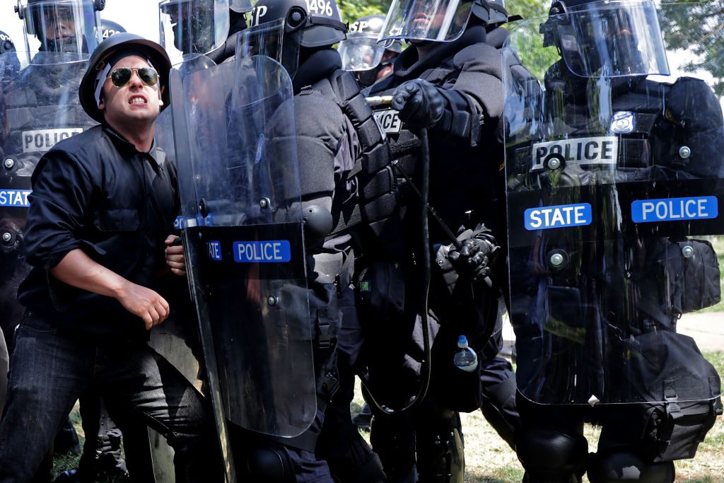"State police at the ""Unite the Right"" rally in Charlottesville, Virginia on August 12, 2017. (Photo by Chip Somodevilla/Getty Images)"