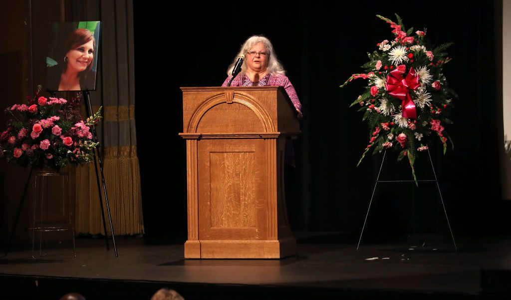 Susan Bro, mother of Heather Heyer, speaks during a memorial for her daughter at the Paramount Theater in Charlottesville, Virgina on Aug. 16, 2017. (Photo by Andrew Shurtleff-Pool/Getty Images)
