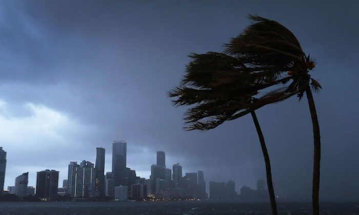The skyline is seen as the outerbands of Hurricane Irma start to reach Florida on Sept. 9, 2017 in Miami, Florida. (Photo by Joe Raedle/Getty Images)