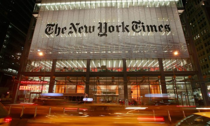 The New York Times headquarters is seen Feb. 19, 2009 in New York City. (Photo by Mario Tama/Getty Images)