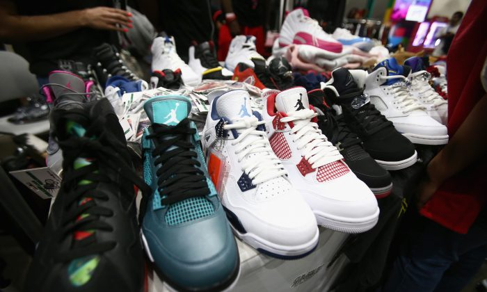 258898a183 Air Jordan Sneakers on display at the 2018 BET Experience Fan Fest in Los  Angeles on