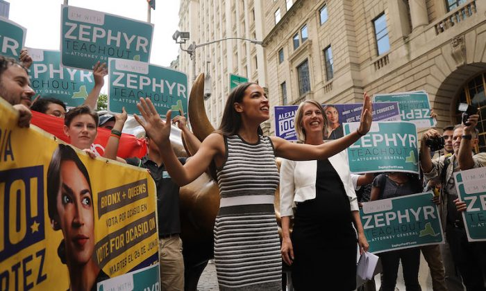 Congressional nominee Alexandria Ocasio-Cortez (L) stands with Zephyr Teachout after endorsing her for New York attorney general in New York on July 12, 2018. (Spencer Platt/Getty Images)