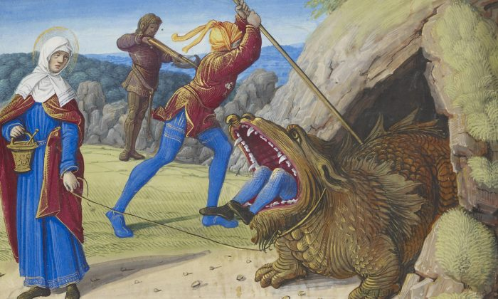 """The Taming the Tarasque,"" from the Hours of Henry VIII, Tours, France, circa 1500. The Morgan Library & Museum. (Graham S. Haber)"