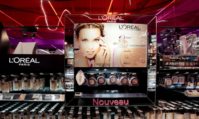 A cosmetic display of French cosmetics group L'Oreal is seen at a Carrefour hypermarket in Nice, France on April 6, 2016. (Reuters/Eric Gaillard)