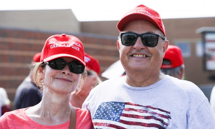 Shelley and John Pultz line up for a Make America Great Again rally in Lewis Center, Ohio, on Aug. 4, 2018. (Charlotte Cuthbertson/The Epoch Times)