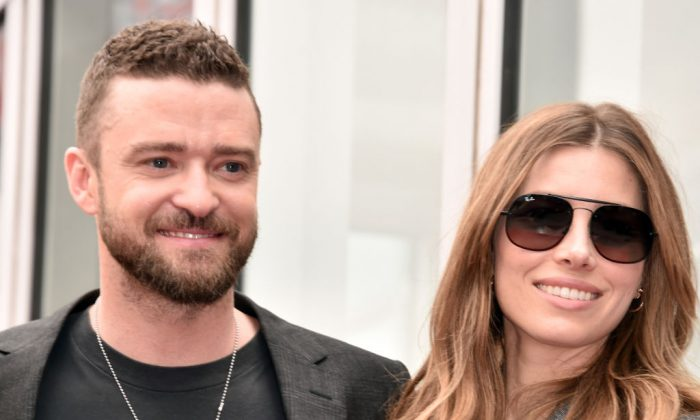 Jessica Biel and Justin Timberlake attend the ceremony honoring NSYNC with a star on the Hollywood Walk of Fame on April 30, 2018. (Alberto E. Rodriguez/Getty Images)