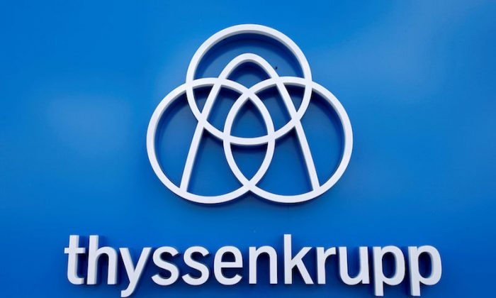Thyssenkrupp's logo is seen close to the elevator test tower in Rottweil, Germany, Sept. 25, 2017. (Reuters/Michaela Rehle/File Photo)