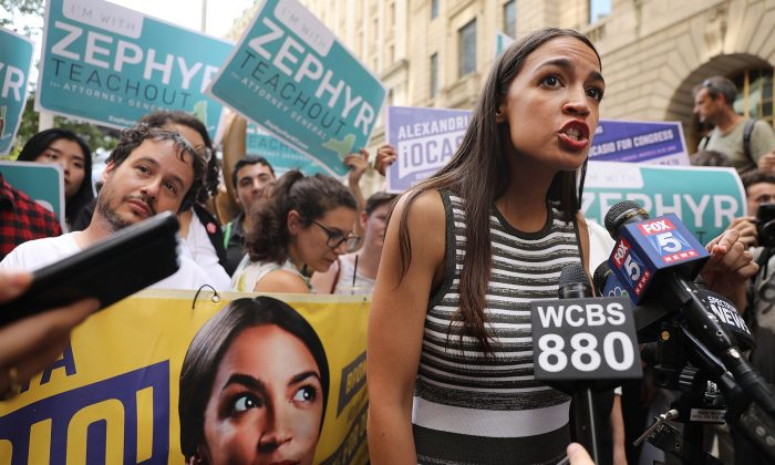 Congressional nominee Alexandria Ocasio-Cortez stands with Zephyr Teachout (not pictured) after endorsing her for New York attorney general on July 12, 2018, in New York City. (Spencer Platt/Getty Images)