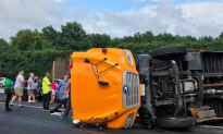 School Bus Flips on NJ Turnpike, 42 On Board