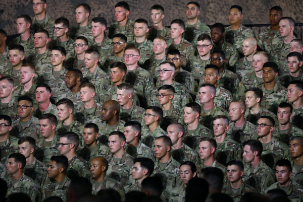 Soldiers from the 10th Mountain Division listen to Vice President Mike Pence at the Wheeler-Sack Army Airfield in Fort Drum, N.Y., on Aug. 13, 2018. (Charlotte Cuthbertson/The Epoch Times)