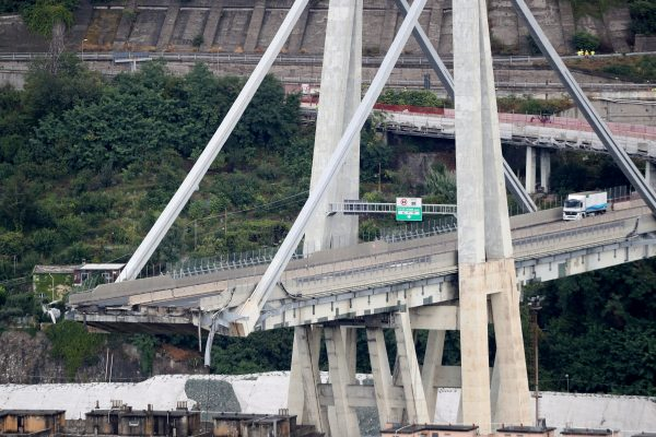 An aerial view of the remnants of the collapsed Morandi bridge
