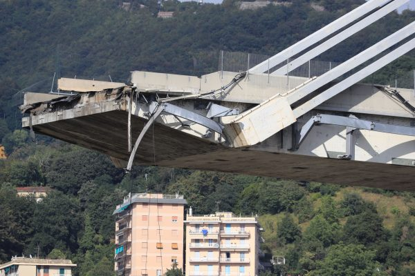 A close up image of a section of the collapsed Morandi bridge