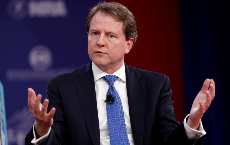White House Counsel Don McGahn speaks at the Conservative Political Action Conference (CPAC) at National Harbor, Maryland, on Feb. 22, 2018. (REUTERS/Kevin Lamarque)