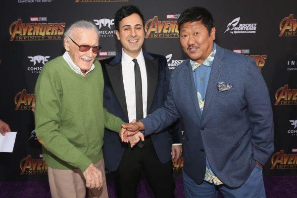 Stan Lee (L), Keya Morgan and actor Benedict Wong (R).