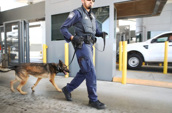A Customs and Border Protection officer and his K-9 are ready to inspect vehicles entering the United States at the San Ysidro port of entry in California on April 9, 2018. (Mario Tama/Getty Images)