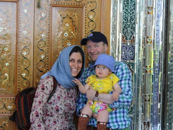 Iranian-British aid worker Nazanin Zaghari Ratcliffe with her husband Richard Ratcliffe and her daughter Gabriella in an undated