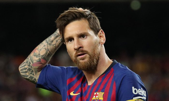 Barcelona's Lionel Messi during the match on Aug. 18, 2018 (Reuters/Albert Gea)