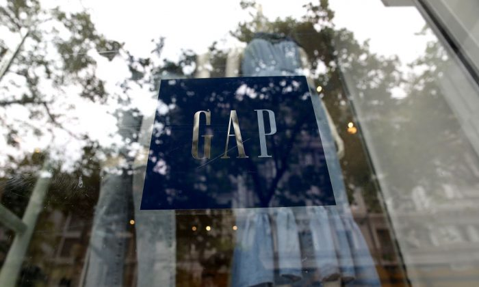 The Gap logo is displayed on a window at a Gap store on May 25, 2018 in San Francisco, Calif. (Justin Sullivan/Getty Images)
