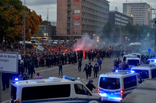 Police and demonstrators in Chemnitz