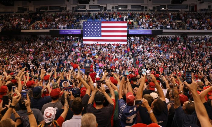 U.S. President Donald Trump at a Make America Great Again rally in Wilkes-Barre, Penn., on Aug. 2, 2018. (Samira Bouaou/The Epoch Times)