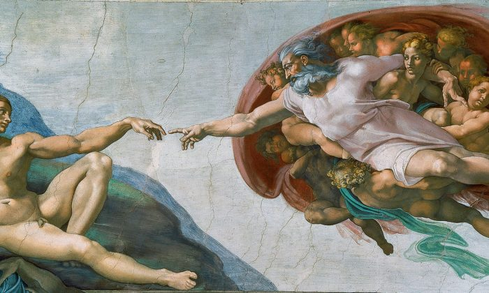 """The Creation of Adam,"" 1508-1512, by Michelangelo Buonarroti. Sistine Chapel, Vatican. (Public Domain)"