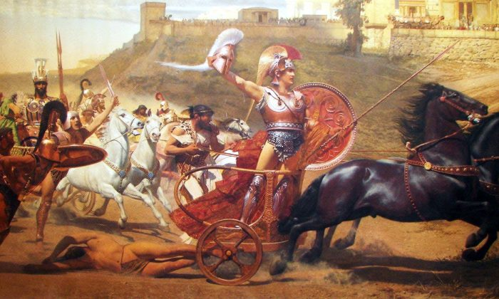 """""""Triumph of Achilles,"""" 1892, Franz Matsch. Achilles drags Hector's body around Troy, from a panoramic fresco at the Achilleion. (Public Domain)"""