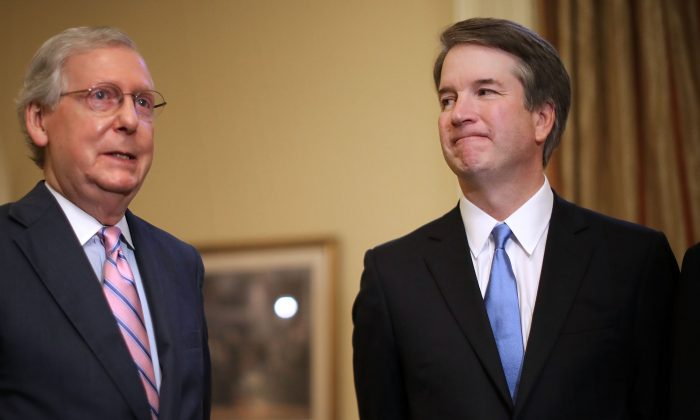 Senate Majority Leader Mitch McConnell (R-KY) (L) and Supreme Court nominee Judge Brett Kavanaugh in McConnell's office in the U.S. Capitol in Washington on July 10, 2018. Kavanaugh's confirmation hearings are scheduled to begin on Sept. 4. (Chip Somodevilla/Getty Images)
