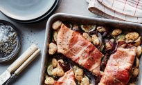 Prosciutto-Roasted Ruby Trout With Zucchini and Butter Beans