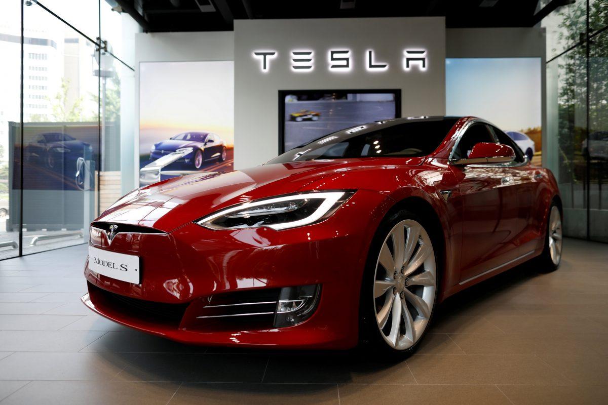 Tesla model s in a dealership