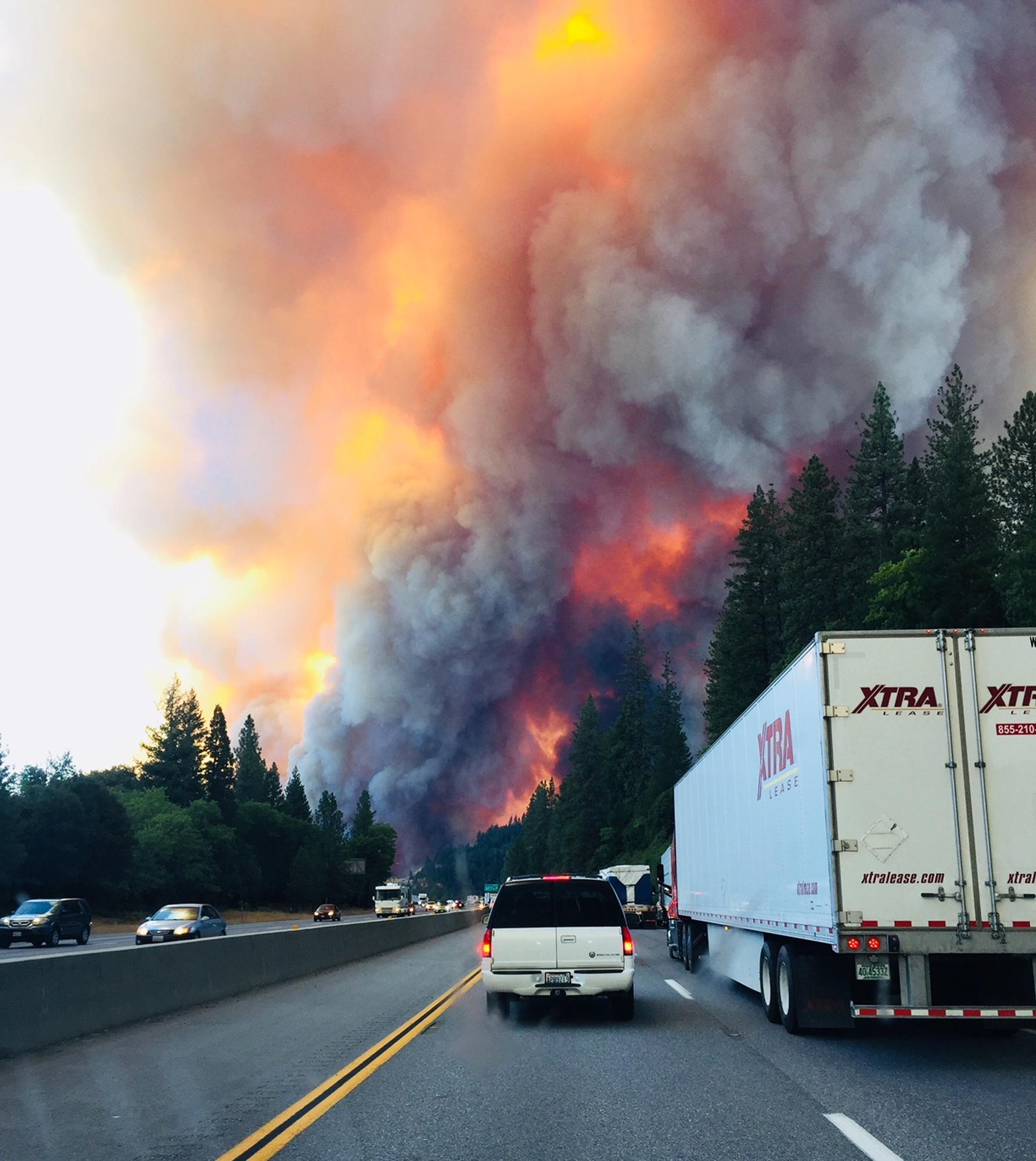 A fire rages near Lake Shasta